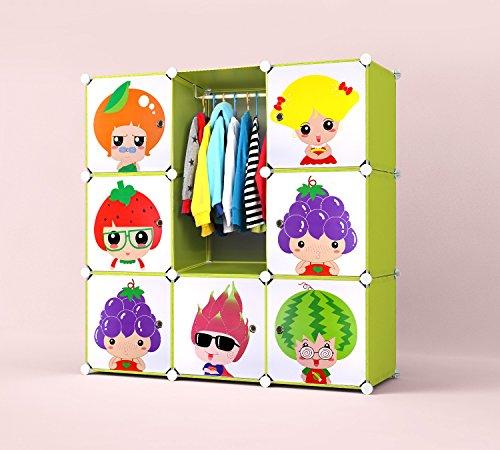 """Aufbewahrungsboxen, Kinder Kleiderschrank mit Kleiderstange-Toy Box """"Interlocking Schuhregal Steckregal Kids Gehäuse Speichereinheiten, 9, Würfelförmig, Fruchtiger Köpfe mit Türen (Gelb Und Grün)"""