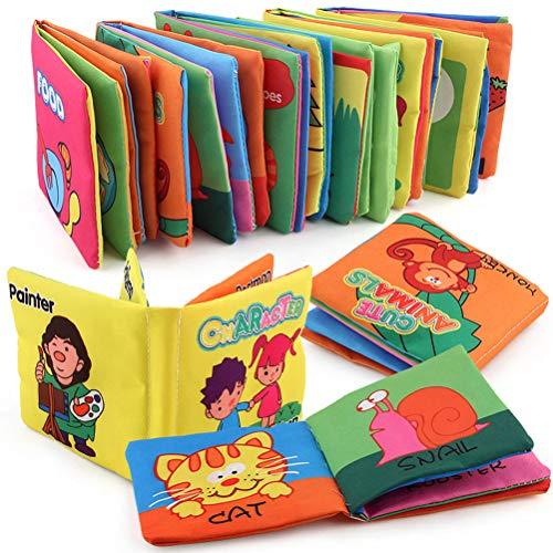 FLORMOON Mi Primer Libro Blando 12 Piezas Libros de Tela no tóxicos para bebés Juguetes de educación temprana Libro de Tela de Arrugas para niños pequeños