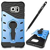 WIWJ Galaxy S7 Edge Hülle,Galaxy S7 Edge Handyhülle, Case Cover Soft Silikon Dual Layer Hybrid Handyhülle mit Ständer 360 Umdrehung 2 in 1 TPU Hülle Schutzhüllen für Samsung Galaxy S7 Edge-Blau