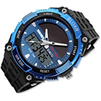 DSstyles Mens Watch Solar Powered Watch 5ATM Waterproof Sport Watch Military Watch - Blue, with LCD Movement, Dual Time, Alarm, Stopwatch, LED Backlight