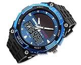 DSstyles Reloj para hombre Reloj con energía solar Reloj militar resistente al agua 5ATM Reloj militar - Azul, con movimiento LCD, Tiempo dual, Alarma, Cronómetro, Luz de fondo LED