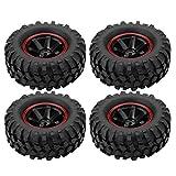 Dilwe RC Auto Reifen, 4 Stück Reifen 6 Löcher Gummi Reifen mit Naben für 1/10 Skala RC Crawler Off-Road Truck Auto