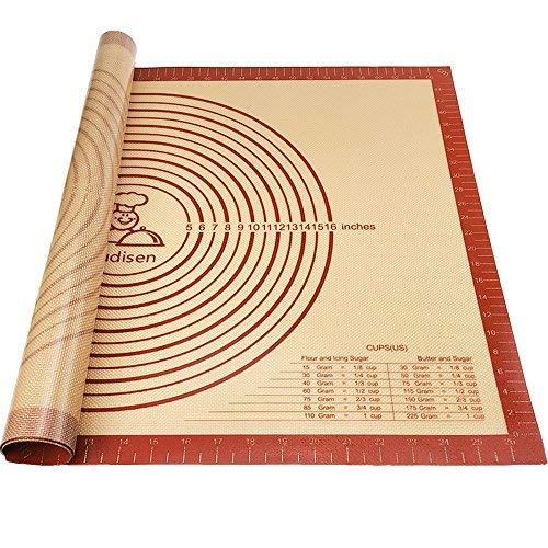 Silikon Ausrollmatte Backmatte Backpinsel rutschfest mit Messungen Extra große wiederverwendbar Kneten Board dicker für Rolling Teig Pad Brot Pie Cookie Tabelle (71,1x 50,8cm) - Mat-board-speicher
