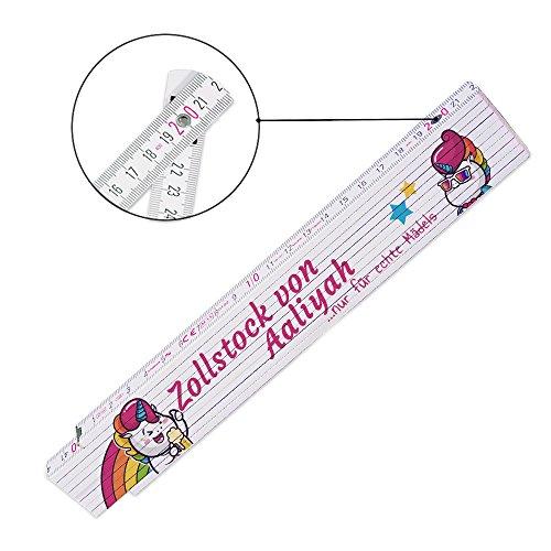 Zollstock mit Namen und schönem Einhorn-Motiv für Frauen | Metermaß | Glieder-Maßstab mit Namen bedruckt