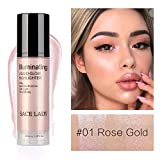 Flüssiger Highlighter, ROMANTIC BEAR Illuminator Make-up Aufhellen Creme für Gesicht und Körper Schimmer Bronze Concealer Creme High Beam (Rose Gold)
