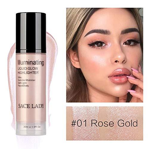 Flüssiger Highlighter, ROMANTIC BEAR Illuminator Make-up Aufhellen Creme für Gesicht und Körper Schimmer Bronze Concealer Creme High Beam (Rose Gold) -