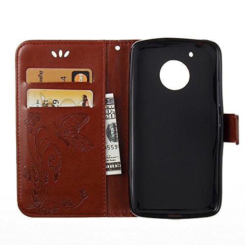 EKINHUI Case Cover Horizontale Folio Flip Stand Muster PU Leder Geldbörse Tasche Tasche mit geprägten Blumen & Lanyard & Card Slots für MOTO G5 ( Color : White ) Brown