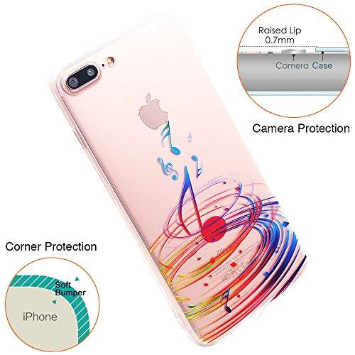 iPhone 6S Hülle, TrendyBox Transparent Weiche TPU Ränder mit hartem PC Rückdeckel Schutzhülle Hülle für iPhone 6/6S mit Gehärtetem Glas Displayschutzfolie (Bunte Musik) 107