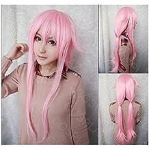 COSPLAZA Peluca para cosplay de Yuno Gasai de la serie anime Diario del futuro, pelo largo sintético de color rosa