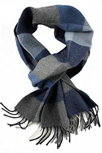 Rotfuchs Woollschal Winterschal Herrenschal & Warm Karo modisch Wolle Made in Germany (blau, 180 x 29 cm)