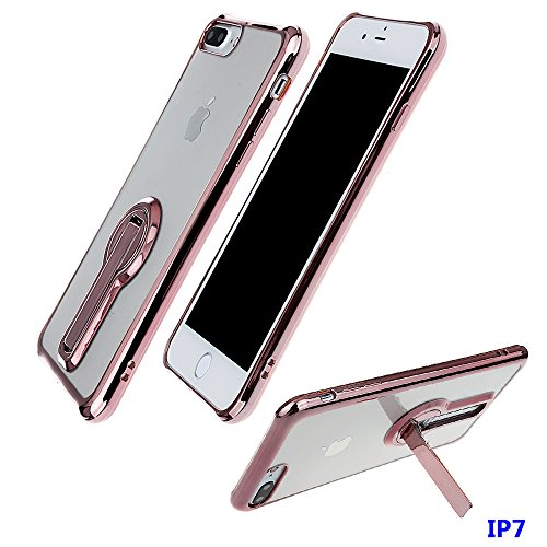 "xhorizon FM8 Elegant Transparent TPU Weich 360 Grad Drehende Kickstand Überzug Case Cover für iPhone 7 [4.7""] (Golden) Rose-gold"