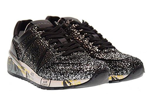 Zapatillas Bajas Premiata Para Mujer Diane 2543 Negro Negro