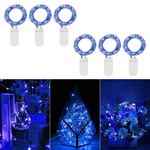 6 Satz blaues LED-Lichterketten 3.3 FT 10 LEDs Batteriebetriebene Starry Schnur-Licht-Kupferdraht Micro-Dekor-Lichter für DIY Kostüm Hochzeit Halloween-Party-Weihnachtsfeiertags-Weckglas Ostertischde