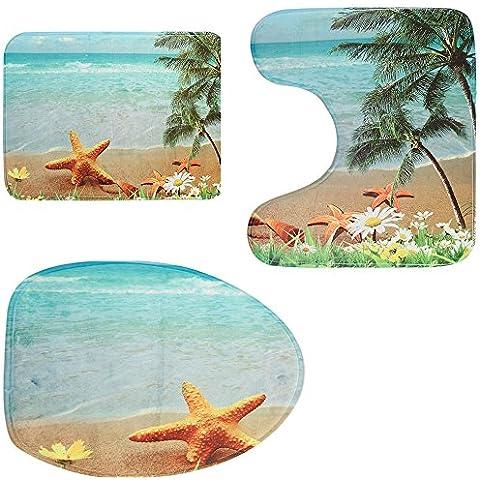 Antideslizante 3Piezas mar playa alfombrilla de baño alfombrilla de alfombra de juegos, alfombrilla de baño + lavabo + tapa de