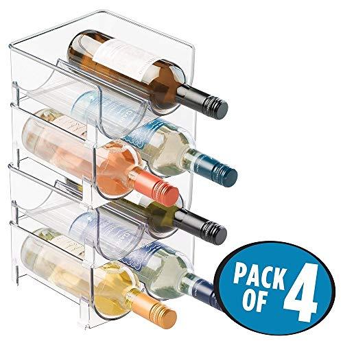 mDesign Portabottiglie Vino in Plastica Robusta - Bottigliera e Scaffale Porta Vino per conservazione ottimale di vini - Struttura componibile - Per 8 bottiglie