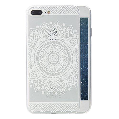 iPhone 6 / 6S Custodia, Pridot Vivido Colore Case Morbido Flessibile TPU Protettivo Cover Classico Mandala Modello Bumper per iPhone 6 / 6S Sottile Silicone Caso Nero Bianco