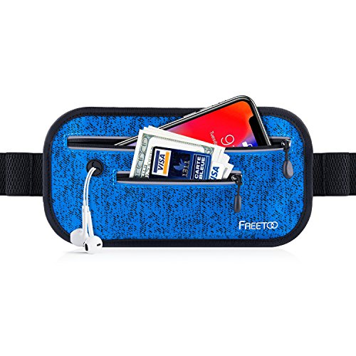 FREETOO Sport Hüfttasche Laufen Gürteltasche Flache Bauchtasche mit Kopfhöreranlass passt alle Handys unter 6 Zoll Must Have Accessoire für Damen und Herren auf Sport und Joggen Anwenden (Blau)