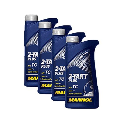 4X MANNOL MN7204-1 2-Takt Plus Motorradöl API TC 1L