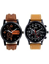 Codice Black Dial Tan Leather Strap Watches for Mens & Boys Pack of 2