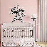 Mhdxmp Art Home Decor Nombres Personalizados Nombres De París Etiqueta De Vinilo De Pared Para Niños Niñas Decoración De La Torre Eiffel 57 * 77 Cm