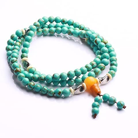 Qiyun Turquoise Blue 6mm Rosary Mala Prayer Bead Meditation Necklace Bracelet