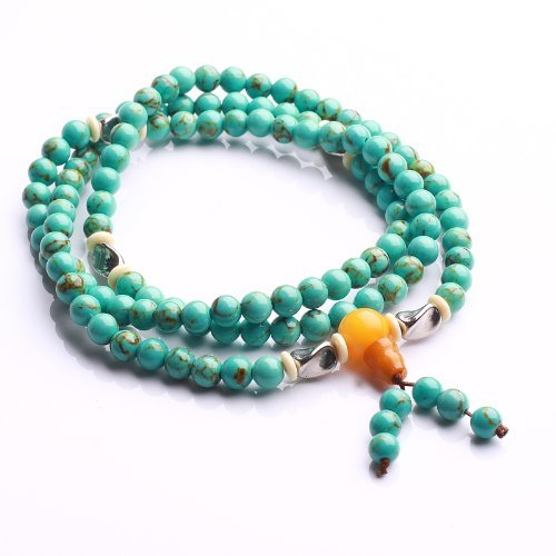 Qiyun Turquoise Bleu 6mm Chapelet Mala Prayer Bracelet perle de collier de meditation