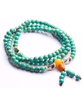 Qiyun Türkis-Blau 6mm Rosenkranz Mala Gebetskette Meditation Halsketten-Armband