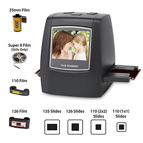DIGITNOW! Dia Film Scanner (Film/Slide, super 8 Film, 35mm und 110,126,SD-/MMC-Karten Steckplatz, USB 2.0 Schnittstelle, Wechselstrom, 22 MP, CMOS, Schwarz)