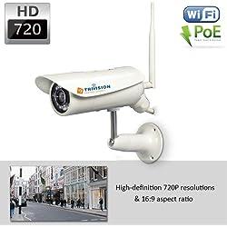 TriVision NC-326PW HD 720p fuer Aussenbereich Internet Heim Sicherheit Kamera System mit Wifi und Poe Wired, Wasserdicht, IR Nacht Sicht, Bewegungssensor, DVR mit Micro SD Karte bis zu 128GB, Plug and Play Apps fuer IPhone, Android, PC, Mac