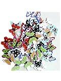 Ularma 100pcs Botones De Madera Tallada Mariposa De Costura Arte DIY 2 agujeros