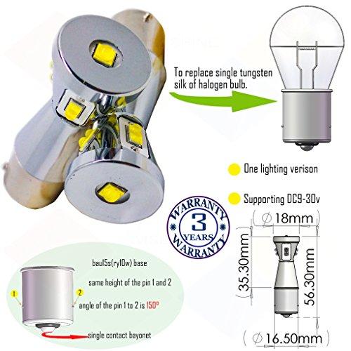 Preisvergleich Produktbild Wiseshine ry10w 7507 5009 1156py bau15s s25 led birne lampen DC9-30v 3 Jahre Qualitätssicherung (2 Stück) bau15s 9 led HP blau