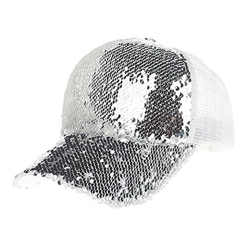 Vovotrade® ❃❃Paillettes Unisexe Casquette de Baseball Chapeau en Molleton Capuchon de Baseball Femme Homme (Argent)