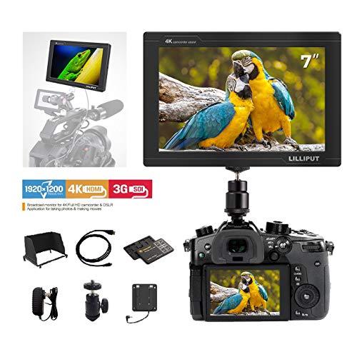 "Lilliput FS7 1920X1200 Kamera Video Monitor 7"" Full HD Field Monitor 4K HDMI / 3G SDI IN-Out für Kamera-Recorder Camcorder mit TARION Speicherkarten Schutzhülle"