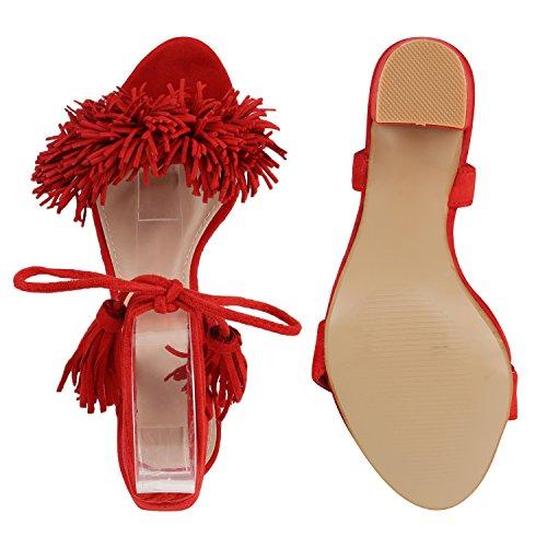 Damen Sandaletten Blockabsatz High Heels Quasten Fransen Schuhe Rot