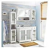 PELIPAL - Maxim 14 - Badmöbel-Set - 82 cm - 6-teilig Badset Komplettset stehend mit Spiegelschrank Keramik-Waschtisch usw. - Landhausstil - in weiß Glas/weiß