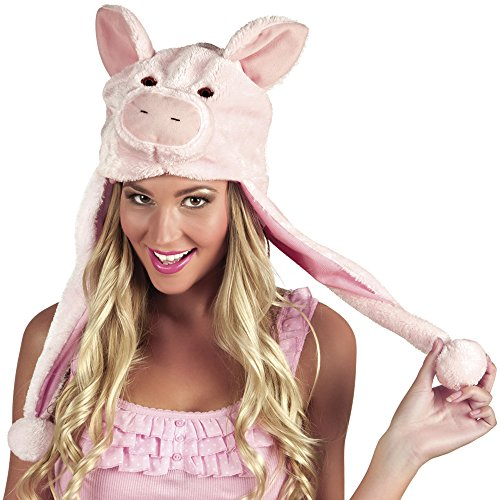 Schweine-Mütze aus Plüsch für Erwachsene