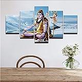 Wiwhy Leinwand Wandkunst Bilder Modulare Rahmen Moderne Zimmer Home Decor 5 Stücke Der Gott Indiens Shiva Malerei Hd Gedruckt Poster Heißer6A,40X60/80/100Cm
