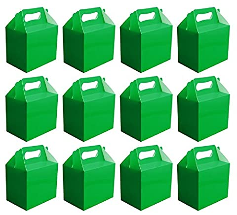 MEGA PACK 12 x PAPER CARD LUNCH BOXES - PARTY PRESENT GIFT BOX PARTIES LUNCHBOXES - CHOOSE COLOUR (Green)