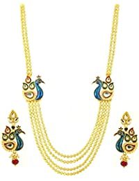 Premokshi Ornaments Peacock 4 String Gold Plated Long Haram Necklace Set For Women