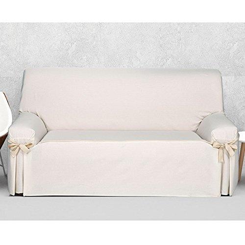 Funda de Sofá con Lazos Modelo MISURI, Color MARFIL C/1, Medida 3 PLAZAS · 160-210cm