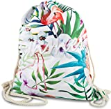 FashionCHIMP Stoffbeutel mit verschiedenen Motiven für Sport und Freizeit, Gymbag, Turbeutel (Flamingo-Tropical-Weiß)