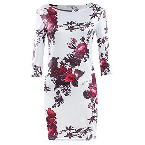 Frauen Kleid,Xinan Frauen-Drucken-Kleid-Hüllen-reizvolles Kleid Tunika Bodycon Kleider Vestidos Robe (M, Multicolor) Frauen Kleid Anzüge Tops