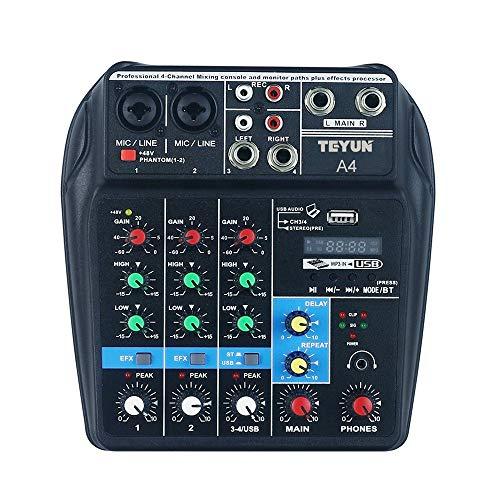 Lilideni Tragbares 4-Kanal-Mischpult für BT-Sound Digital Audio Mixer Eingebaute Reverb-Effekte für die Aufnahme von Live-Sendungen im DJ-Netzwerk