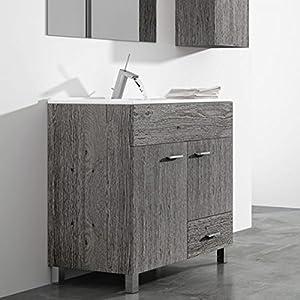 DUCHA.ES Mueble DE BAÑO con Lavabo EspejoTOALLERO (Aplique LED NO Incluido) Conjunto Moderno Medidas (60 CM, Blanco Brillo)