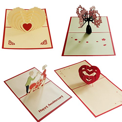 4Stück cherry blossoms True Herz Pop-Up-Karte 3D Paper Craft Grußkarten Cheers My Love rot Herzen-Romantiker, Freundinnen, Sweetheart, Frau-Geburtstag, Verlobung, Abschluss, Jahrestag Geschenk