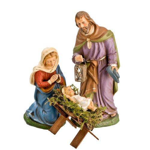 Sacra famiglia con presepe in legno, parti{4}, di 12 cm lanterne personaggi