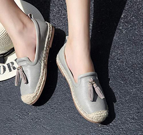 YOPAIYA Fisherman Shoes Lazy Mikrofaser Schlange Espadrilles Frauen Grau Oxfords Freizeit Damen Schuhe Handgefertigt Stricken Massage Fischer Wohnungen Flache Müßiggänger, 39 - Navy Schlange-leder Schuhe