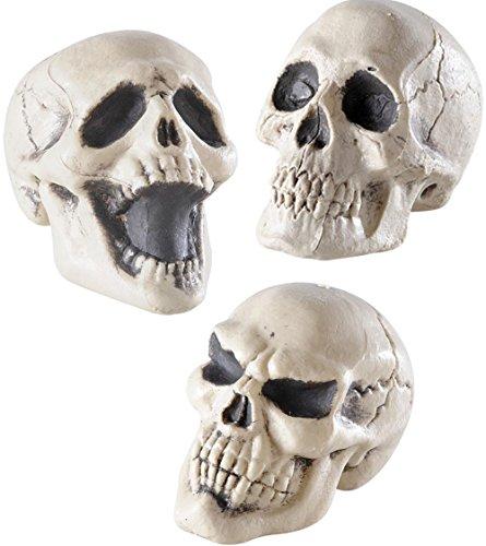 3-Teiliges Deko-Set * TOTENKÖPFE * zur Dekoration Bei Halloween und Motto-Party // Totenkopf Horror Skull Skelett Kinder Mottoparty Darkness