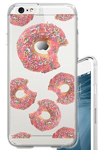 iPhone 6S Schutzhülle Donuts mit Sprinkles Funny Schönes Food Snack Transparent Translucent Transparent Einzigartiges Design Muster Cover für iPhone 6S Auch Passend für iPhone 6 Translucent Pink Case Cover