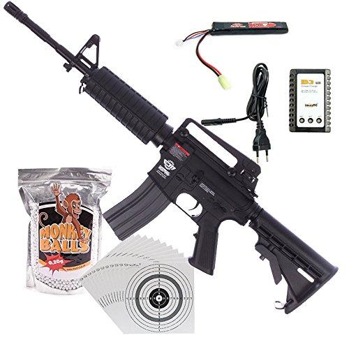 G&G CM16 Carbine AEG Airsoft-Gewehr Kal. 6mm Softair BBs ***<0,5 Joule P14!*** im ★SET★ mit Akku, Ladegerät, Softair BBs und 100 ShoXx.® Zielscheiben (Softair Cm16)